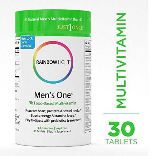 Rainbow Light - Men's One Multivitamin - Probiotic, Enzyme, and Vitamin Blend; Supports Energy, Stress Management, Heart, Prostate, Muscle, and Sexual Health in Men; Gluten Free - 30 Tablets