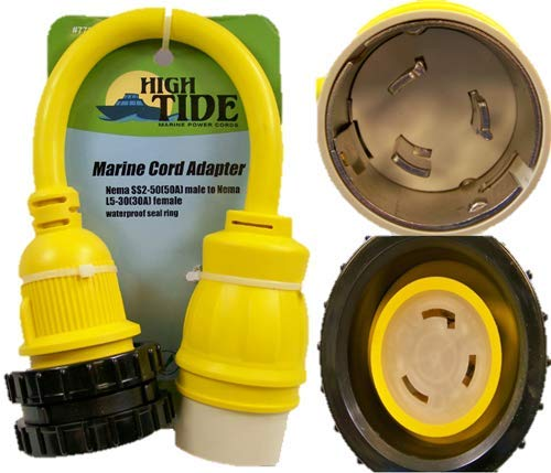 50 Amp Male to Locking 30A Female Marine adapter with LED Indicators (7731) by High Tide Marine Cords
