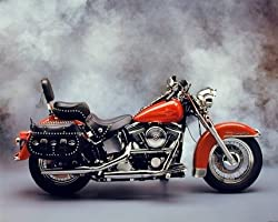 Red Harley Davidson Vintage Motorcycle Road King Art Print Poster (16x20)