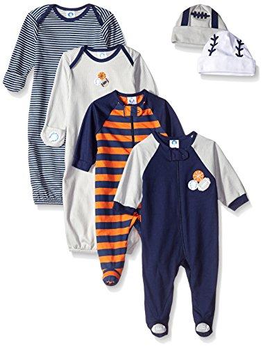 Gerber Boys' 6 Piece Seriously Cute Sleepwear Essential Gift Set, Sports, 0-6 Months