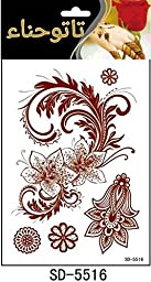 Adecco LLC 6PC Fashion Flash Waterproof Tattoo Women Red Ink Henna Jewel Sexy Lace Flower Pendant Wed Henna Temporary Tattoo Stick