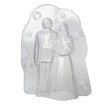 TONVER Molde de fondant para pasta de azúcar, diseño romántico de novia, para decoración de tartas, bricolaje, repostería, herramientas de manualidades, ...