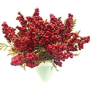 M2cbridge Artificial Red Rosehip Berries Christmas Holly Berries (Set of 4) 79