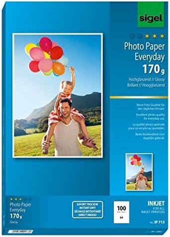 SIGEL IP715 InkJet Fotopapier hochglänzend, weiß, 170 g, A4, 100 Blatt - weitere Stückzahlen