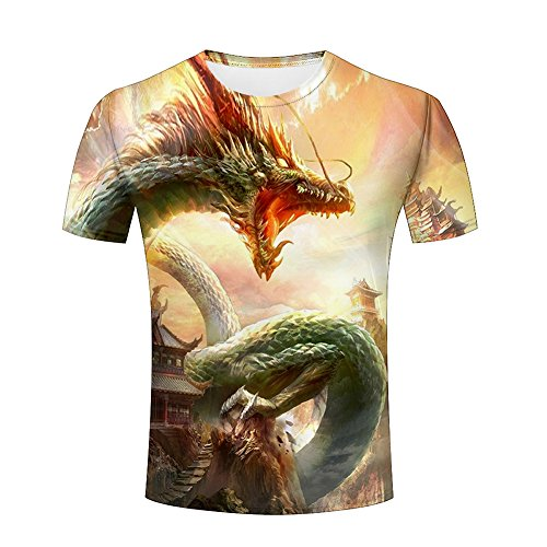 - Jiacool Creative 3D T Shirt Dragon Funny Printed Graphic Casual Men Tees Top Short Sleeve XXL
