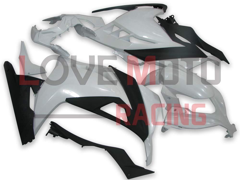 LoveMoto ブルー/イエローフェアリング カワサキ kawasaki EX300R ZX300R Ninja 300 2013 2014 13 14 EX-300R ZX-300R ABS射出成型プラスチックオートバイフェアリングセットのキット ホワイト ブラック   B07KQ7CDFS