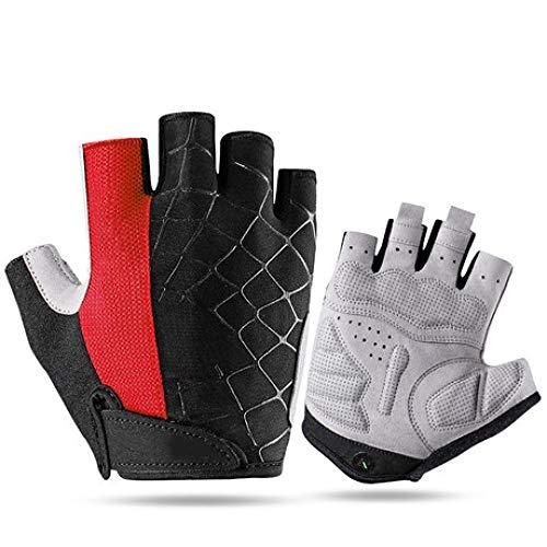 HOQTUM Riding Gloves Half Finger Unisex Outdoor Summer Short Finger Gloves Breathable Non-Slip Sponge ()