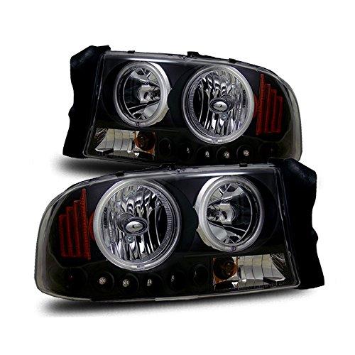 For 97-04 Dakota/98-03 Durango LED Halo Black Crystal Headlights