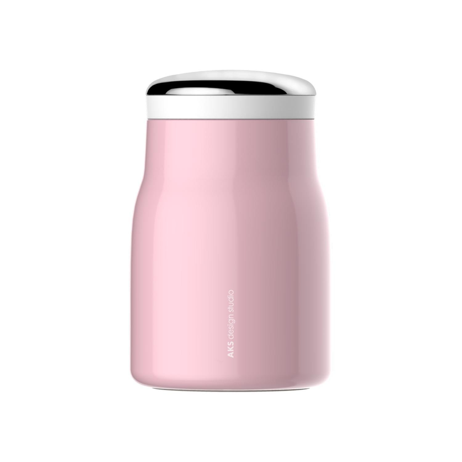 AKS Vacuum Insulated Stainless Steel Food Jar, 16 Oz with a carrying bag (Pink)
