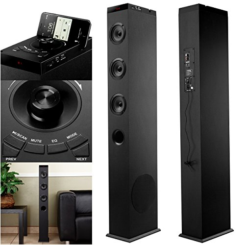 Frisby FS-400TS 2.1 Ch Wireless Bluetooth Floorstanding Tower Home Speaker System with Built in Dock Station