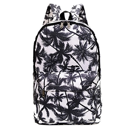 Printed Canvas Casual Backpack Travel Shoulder Bag Students Schoolbag Satchel College Rucksack (Palm Tree) (Palm Tree Purse)