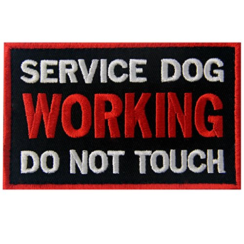 (Service Dog Working Do Not Touch Vests/Harnesses Emblem Embroidered Fastener Hook & Loop Patch)