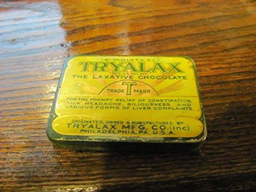 vintage TRYALAX laxative tin, circa 1930s, Philadelphia