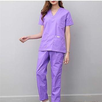 OPPP Ropa médica Mujer Uniformes médicos Enfermería Ropa de Trabajo Ropa de Trabajo del Hospital Sala de Operaciones V Cuello Mangas Cortas Verano Médico ...