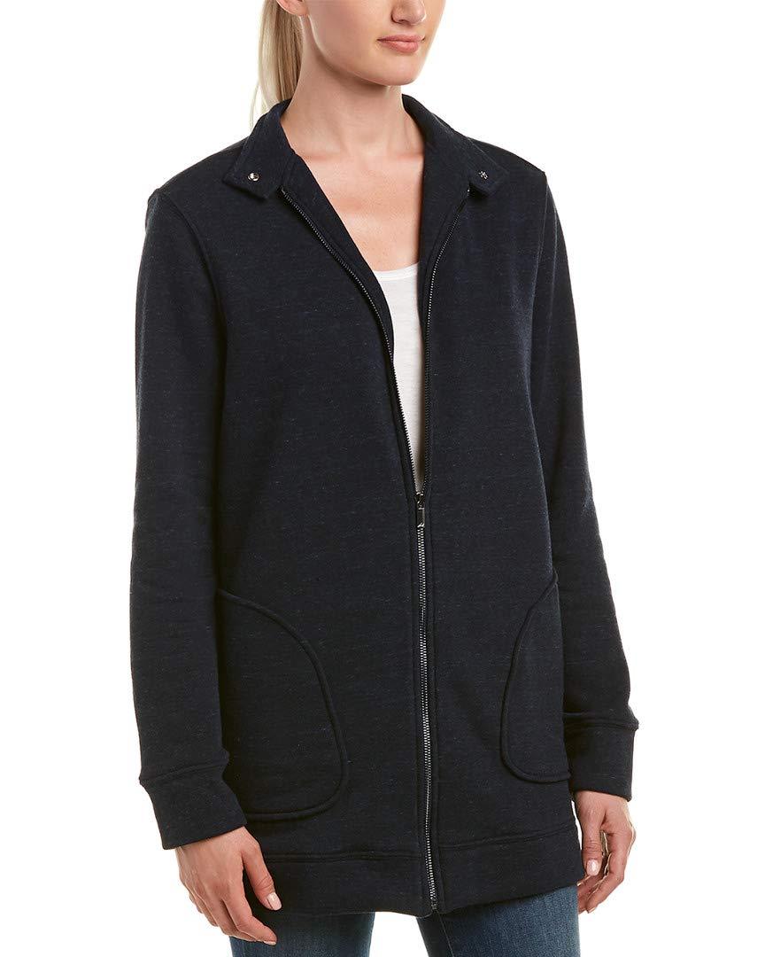 Three Dots Women's Triblend Fleece Loose Long Jacket, Night Iris, Xtra Large