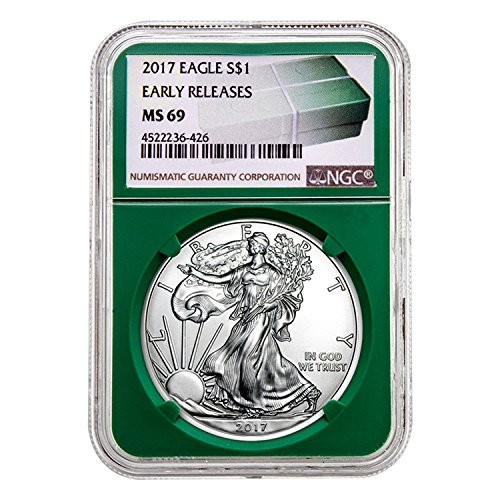 2017 Silver Eagle Green Holder Early Releases $1 MS-69 NGC