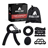 Gorilla Grip Hand Grip Strengthener (5-Piece Set) Adjustable Gripper, Finger Strengthener, Stretch and Exercise Ring, Stress Relief Ball | Build Athlete Strength, Physical Therapy Support