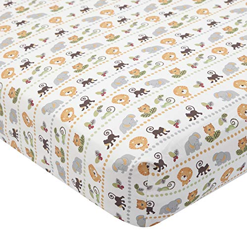 Lambs & Ivy Treetop Buddies Jungle Animal Fitted Crib Sheet,