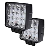 Led Driving Lights for Truck, Ilike 4 inch Pods Light 12V 48W Square 5D Off Road Lighting Spot Beam Lamp 48W Led Work Light Bar for Jeep,4WD,ATV,UTV(Pack of 2)
