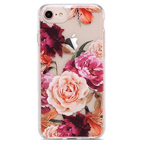 Coolwee Floral iPhone 8 Case,iPhone 7 Clear Case/iPhone 6S/6 Case for Women Girls,Flower Rose Clear Floral Design Plastic Hard Back Case with TPU Bumper Protective Case Cover for iPhone 7 - Purple