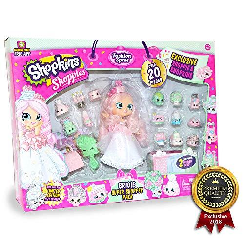 Shopkins Shoppies BRIDIE Exclusive Super Shopper Pack - Bride Doll Wedding Fashion Shopping Spree (20+ Pieces) -