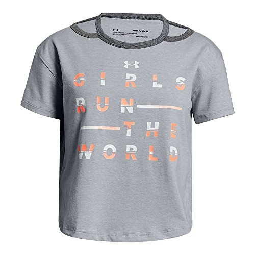 Under Armour Girls Finale Tee Girls Run The World, Overcast Gray Light (941)/After Burn, Youth -