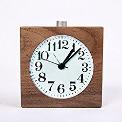 WAYCOM Exquisite Square Silent Mute Table Snoose Small Wood Alarm Clock with Nightlight (Black Walnut Wooden)