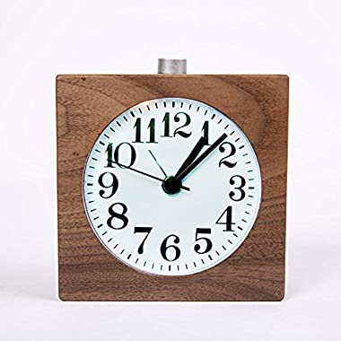 WAYCOM® Exquisite Square Silent Mute Table Snoose Small Wood Alarm Clock with Nightlight (Black Walnut Wooden)