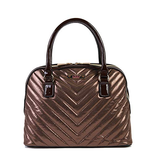 Nikky Women's Quilted Metallic Double Zip Brown Satchel Bag with Shoulder Strap, Bronze, One Size