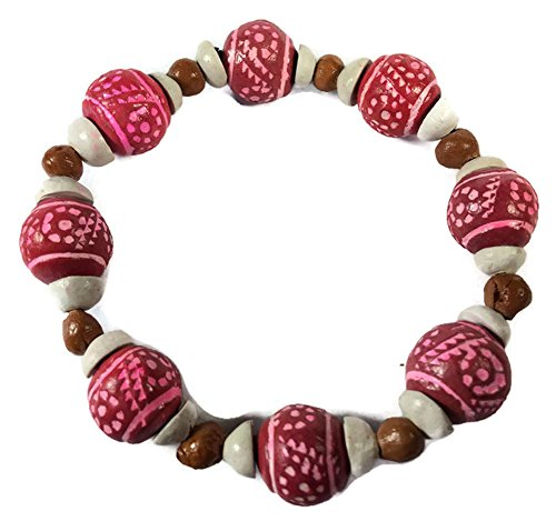 thai-handmade-baked-clay-flexible-bracelet-for-women-22-cm-pink