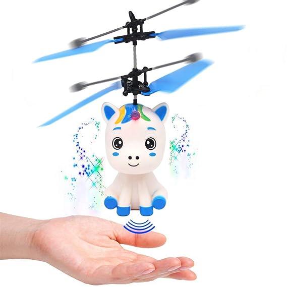 Kappha Helicóptero de Mano Toy Flying Unicorn con luz LED Regalos ...