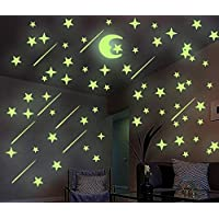 Luminoso pegatinas de pared estrellas y luna, DIY
