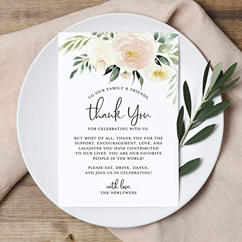 Blush Floral Wedding Thank You Place Setting Cards, 4x6 Print to add to your Table Centerpieces and Wedding Decorations - Pack of 50