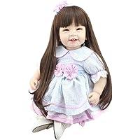 XINGXIANYIGOU Simulacion Baby Doll, Muñeca Happy Smile Baby Girl, Muñeca Realista, Vestido Largo de Cabello Azul Niños Mayores de 2 años Crecen Regalo bañándose pa