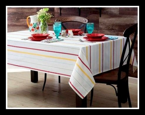 Pioneer Woman Tablecloth Vintage Striped White with Fiesta Striped Accents 60 by 84