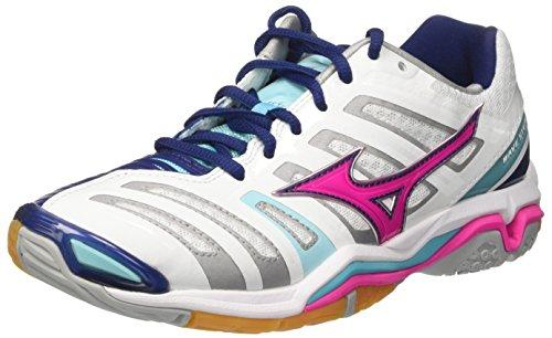 Mizuno Women's Wave Stealth WOS Gymnastics Shoes, White Bianco (White/Pink Glo/Blue Radiance)
