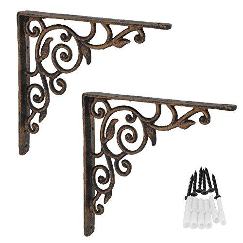 - AddGrace 2 Pack Decorative Shelf Bracket Ornate Pattern Cast Iron Angle Wall Brace (Brown) 8.5 inch