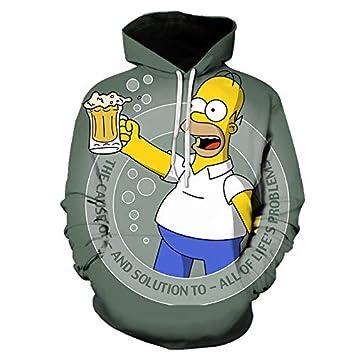 diseño exquisito bastante baratas duradero en uso BIZHIGE WEIYIGE Sudadera 3D Simpson Estampado Digital Hombre ...