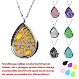 """M.JVisun Teardrop Wearable Essential Oil Diffuser Necklace - Stainless Steel Locket + 24"""" Chain + 7 Pads"""