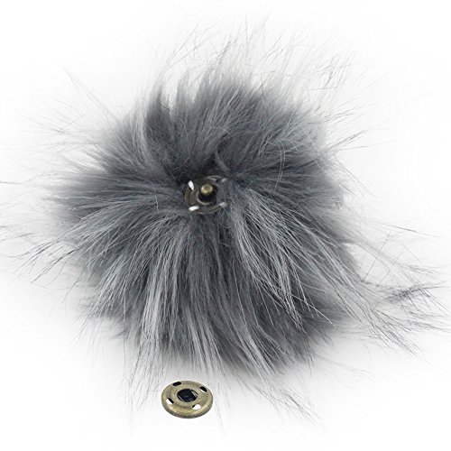 SUSULU Pack of 12 Faux Raccoon Fur Pompoms with Press Button for Knitting Hats (Gray) -  furling, FR11GR1*12