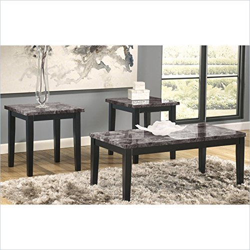 Ashley Furniture Signature Design - Maysville Faux Marble Top Occasional Table Set - Contains Cocktail Table & 2 End Tables - Contemporary - Black