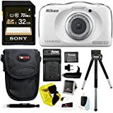 Nikon COOLPIX S33 Waterproof Camera (White) with 32GB Accessory Bundle