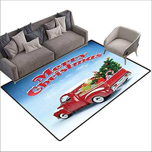 Floor Mat Kitchen Long Carpet Christmas,Pickup Truck Filed with Ornament Cold December Weather Snowflakes Merry Christmas,Multicolor 60
