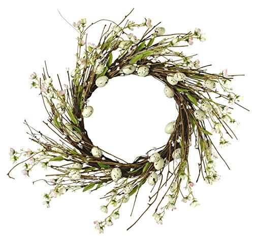(Speckled Easter Egg Twig Wreath with Floral Accents -)