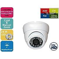 Evertech 1MP CMOS Sensor 720P AHD / 1000TVL Analog Vandal Proof 24 IR Wide Angle Lens White Dome Camera with OSD Button for CCTV security camera system