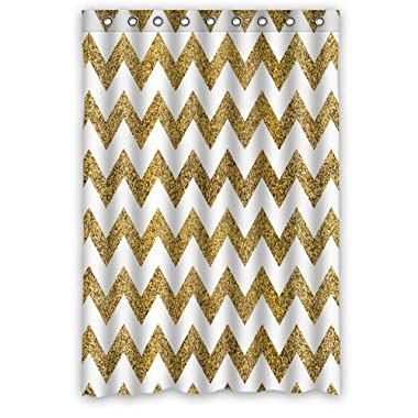 Innovation Design Gold and white Chevron Shower Curtain Mildew Waterproof Polyester Fabric Bathroom Shower Curtain Size 48  x 72  Inch