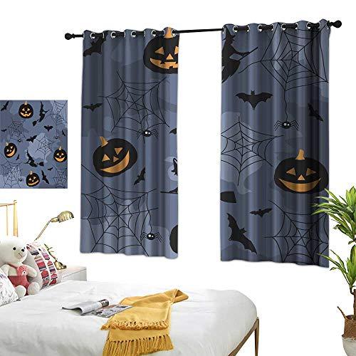 wwwhsl Personality Creative Bedroom 90% Blackout Curtains Halloween Room Decoration Ideas W62.9 xL72