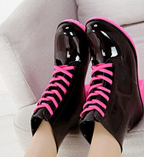 Kus Goud (tm) Meisjes Mode Marter Jelly Regenlaarzen Regenschoenen Zwart