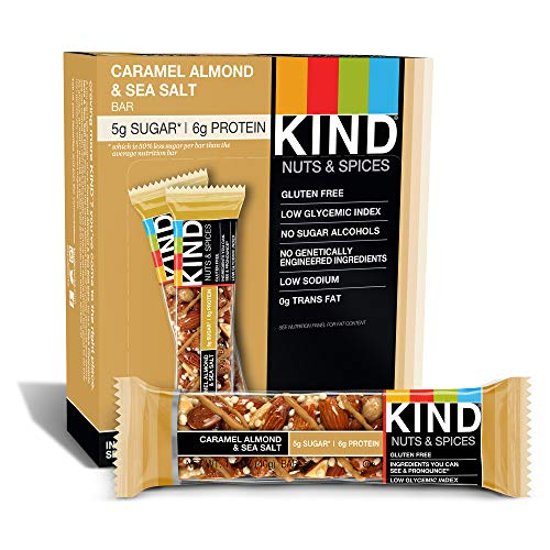 - KIND Bars, Caramel Almond & Sea Salt, Gluten Free, Low Sugar, 1.4oz, 12 Count