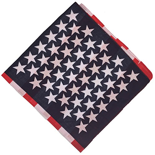 BOOLAVARD 1s, 6s, 9s or 12 Pack Cowboy Bandanas with Original Paisley Pattern (Stars + Stripes) ()